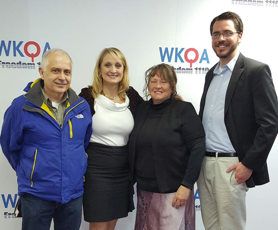 Dr. Christine Bacon and her guests George Elliott, Cheri Britt and Michael Maunder at the WKQA radio studio