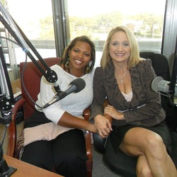 Kisha Frazier and host Christine Bacon Ph.D. at the WKQA studio in Norfolk, Virginia