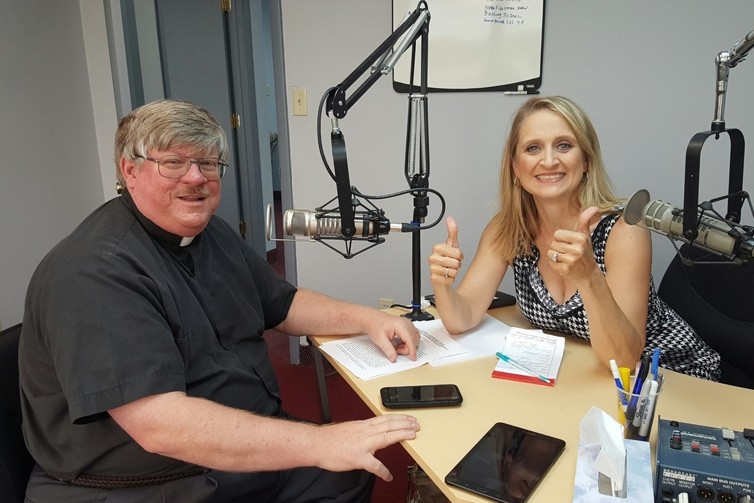 Deacon Darrell Wentworth with host Christine Bacon, Ph.D. at the WKQA recording studio.