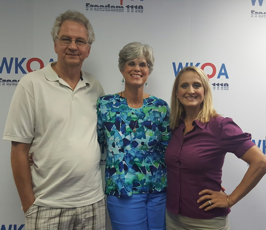Guest Cheryl Van Buren with husband Brad and Dr. Christine Bacon at the WKQA studio in Norfolk, Virginia.