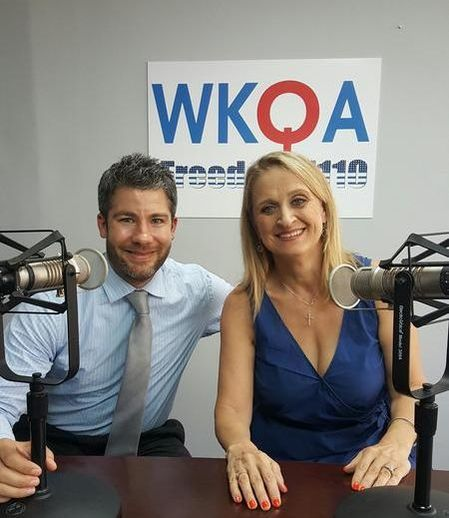 Host Dr. Christine M. Bacon with guest Seth Doherty in the WKQA 1110AM Studio in Norfolk, Virginia.