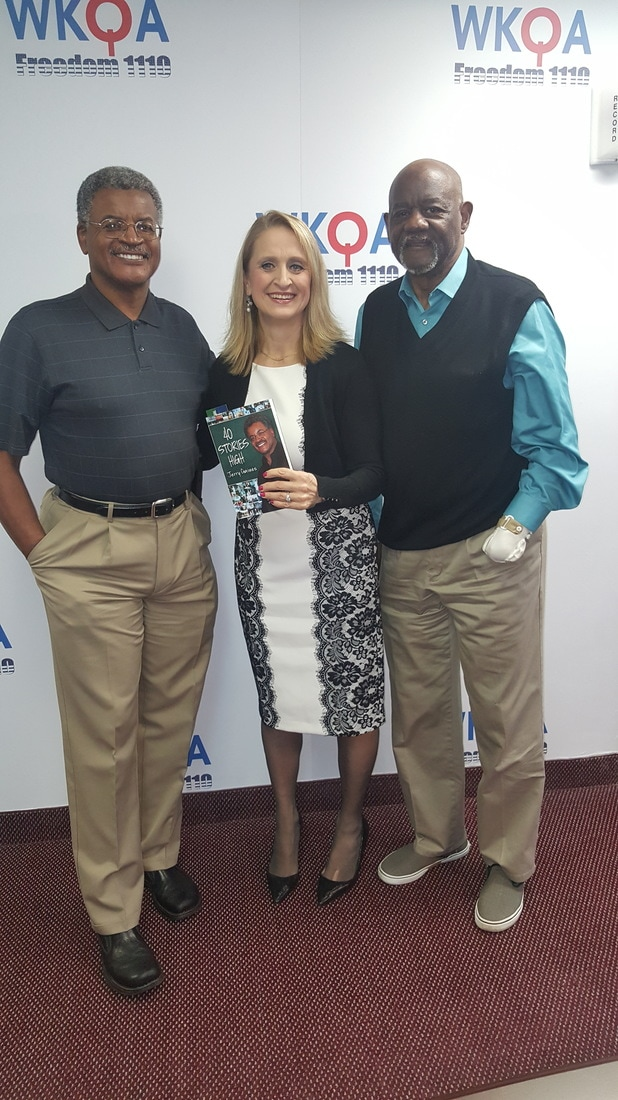 Author Dr. Jerry Gaines with brother Dr. Jack Gaines and host Dr. Christine Bacon pictured with Jerry's book