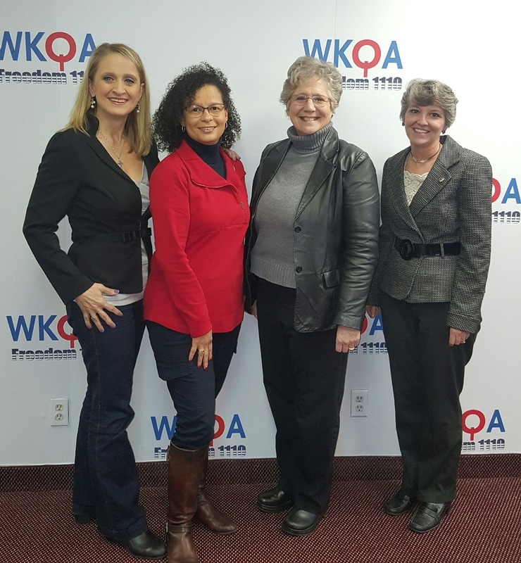 Dr. Christine M. Bacon pictured with guests Christy Jenson, Carol Berg, and Daphne Eaton in the WKQA Studios in Norfolk, Virginia.