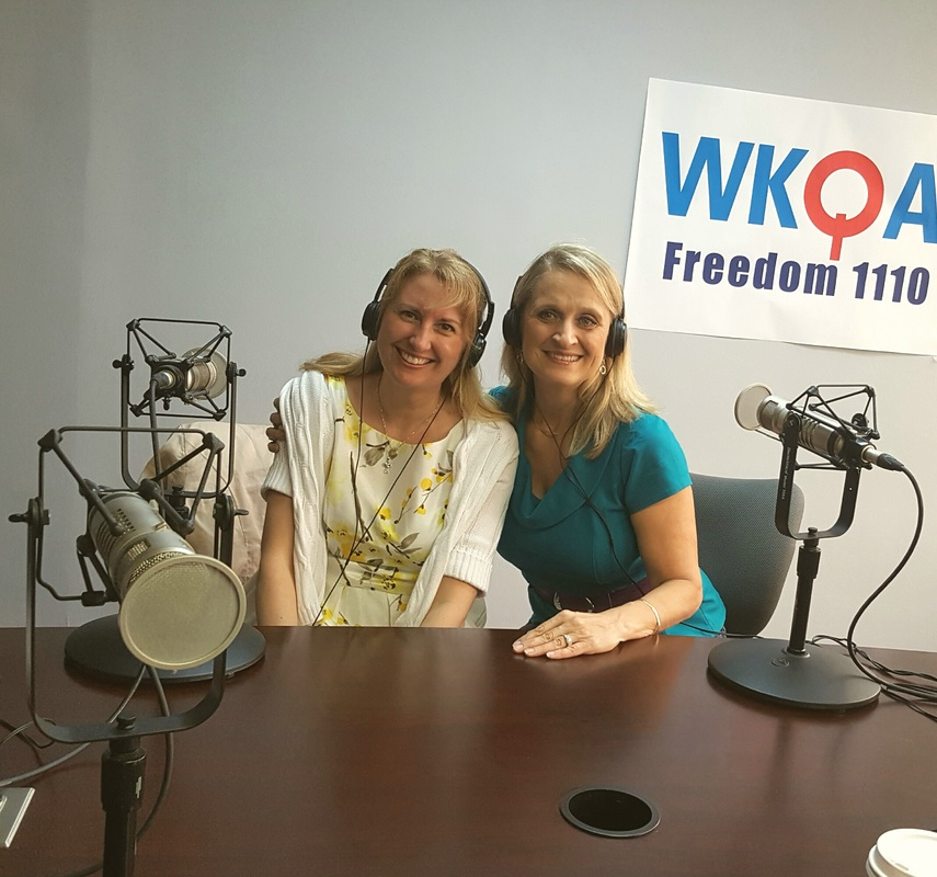 Drs. Joy Francis and Christine Bacon enjoying another broadcast together from the WKQA studio in Norfolk, Virginia.