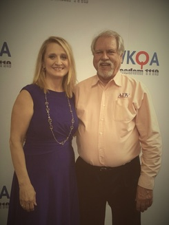 Dr. Christine Bacon and Ray Boetcher at the WKQA studio.