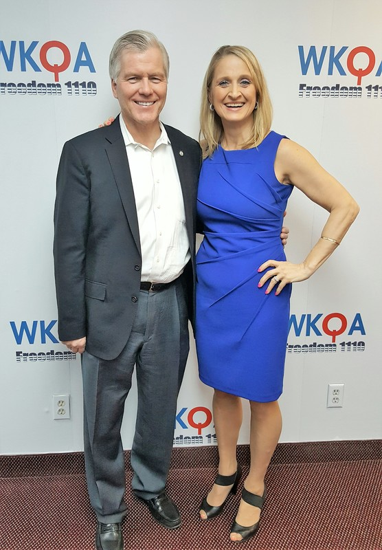 Former Virginia Governor Bob McDonnell poses with host Dr. Christine Bacon after an hour of sharing his faith with listeners.