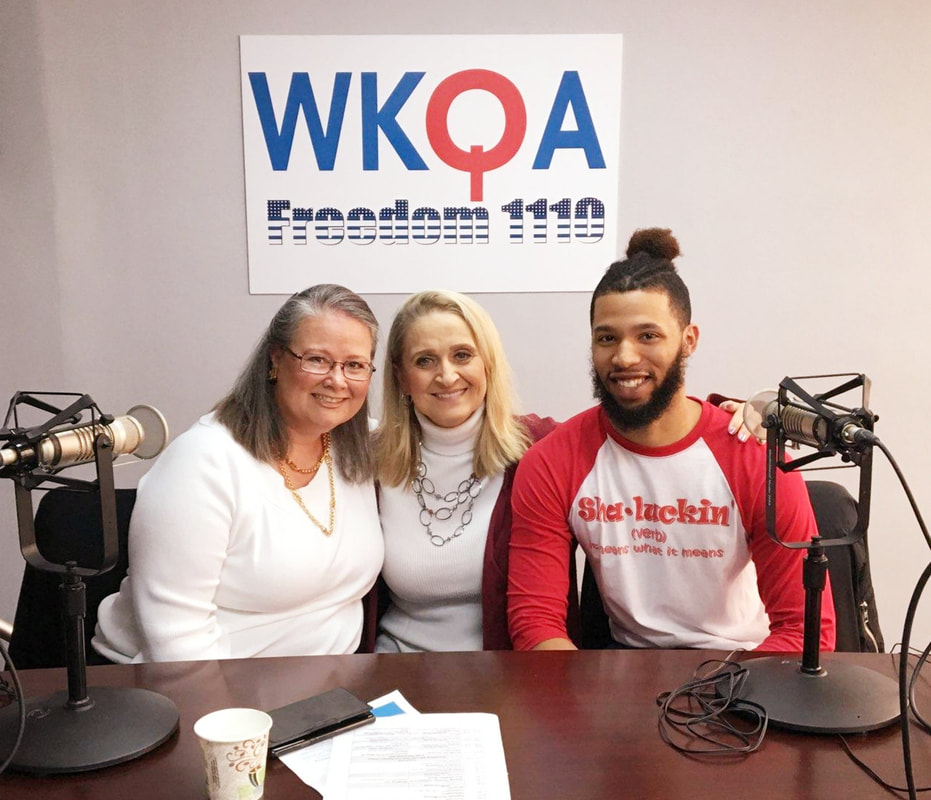 Chritine Bacon, Christine Tate and Shane McCatty in the WKQA studios in Hampton Roads, Virginia.