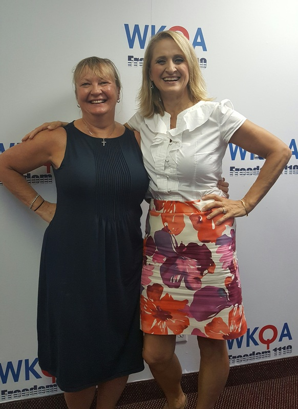 Religious Education Program Facilitator Cindy Urben with host Christine M. Bacon, Ph.D. in the WKQA studio in Norfolk, Virginia.