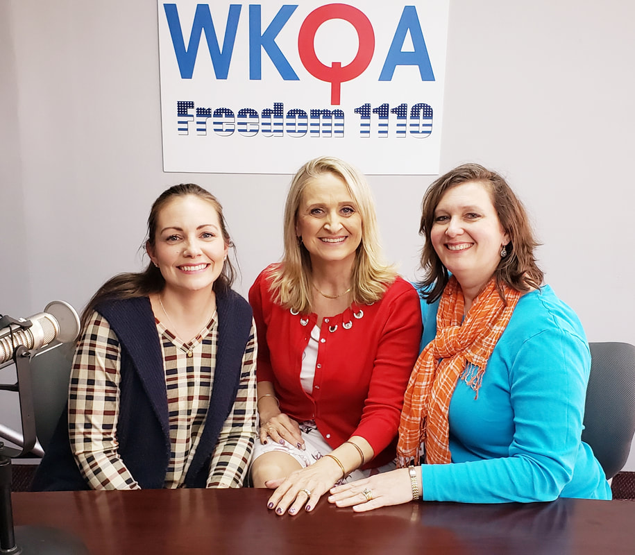 Jessica Kohan and Claudia Schrock sit to the right and left of Dr. Bacon after another very engaging conversation in the WKQA studios.