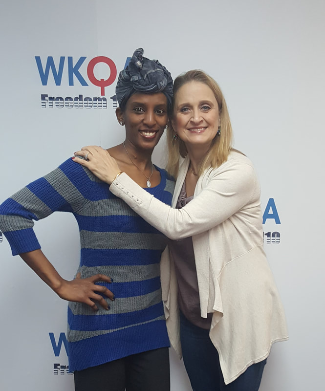 Mariam Ibraheem and Dr. Christine Bacon osing together in the WKQA studios in Virginia.