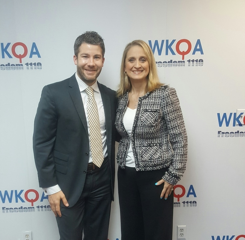 Guest Seth Doherty and host Christine Bacon, Ph.D. at the WKQA studios in Norfolk, Virginia after the completion of a really great series.