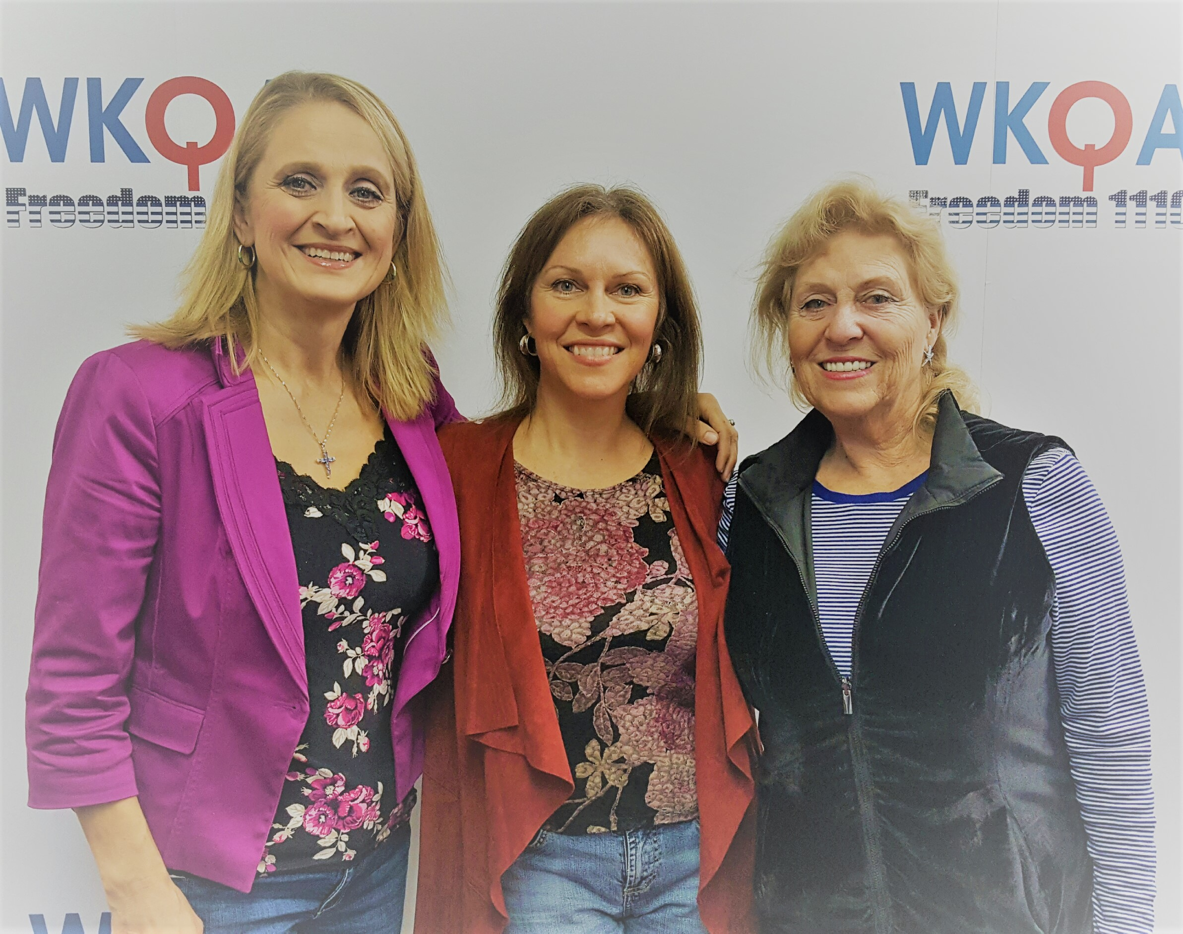 Dr. Christine Bacon with guests Nora Firestone and her mother Karen Wahl posing at the WKQA studios after a great discussion about gratitude.