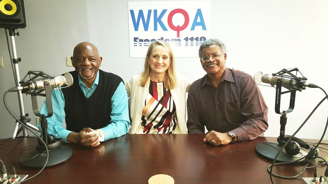 Dr. Jack Gaines, with host Christine Bacon and brother Dr. Jerry Gaines enjoying a photo op at the WKQA studios in Norfolk, Virginia.